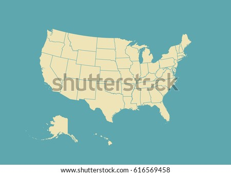 Free US Map Silhouette Vector - Us map with state lines