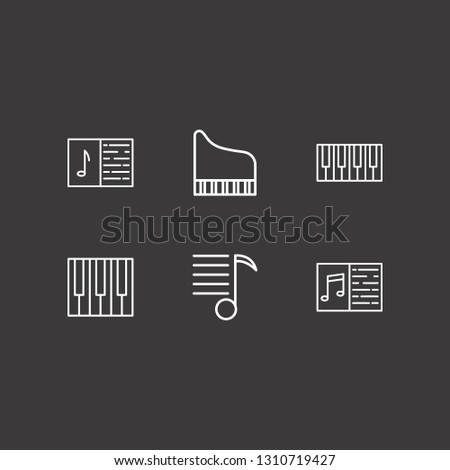 Outline 6 melody icon set. piano keyboard, melody list, melody notebook and piano vector illustration