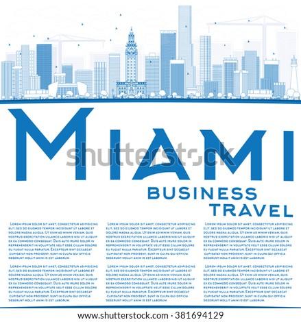 outline miami skyline with blue