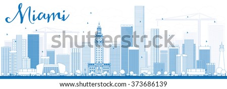 outline miami skyline with blue