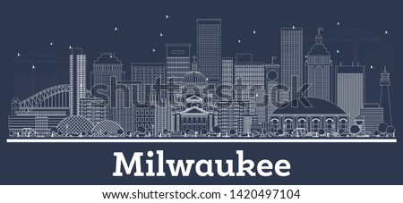 Outline Milwaukee Wisconsin City Skyline with White Buildings. Vector Illustration. Business Travel and Tourism Concept with Modern Architecture. Milwaukee Cityscape with Landmarks.