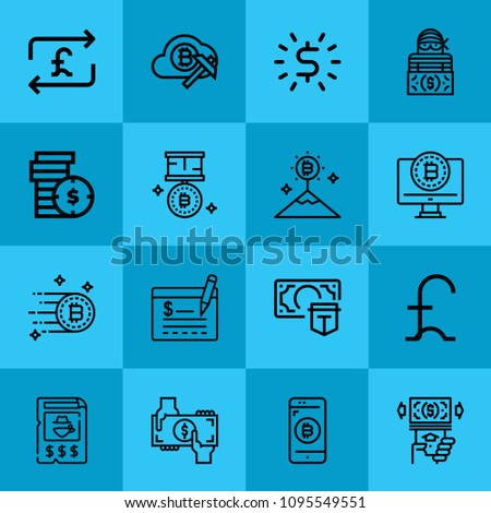 Outline money 16 vector icons set. 16 icons page symbol for your web site design. logo, app, ui, illustration, eps10 such as robbery, atm, money, cheque, bitcoin, coins, medal #1095549551