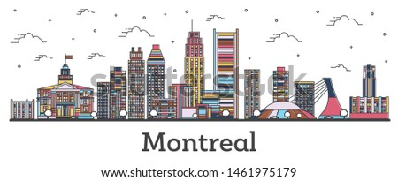 Outline Montreal Canada City Skyline with Color Buildings Isolated on White. Vector Illustration. Montreal Cityscape with Landmarks.