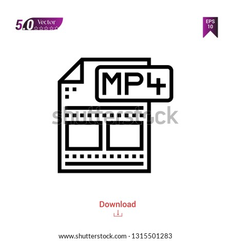 Outline mp4 file icon isolated on white background. Popular icons for 2019 year. file-types. Graphic design, mobile application, logo, user interface. EPS 10 format vector