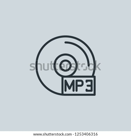 Outline mp3 vector icon. Mp3 illustration for web, mobile apps, design. Mp3 vector symbol.