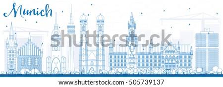 outline munich skyline with