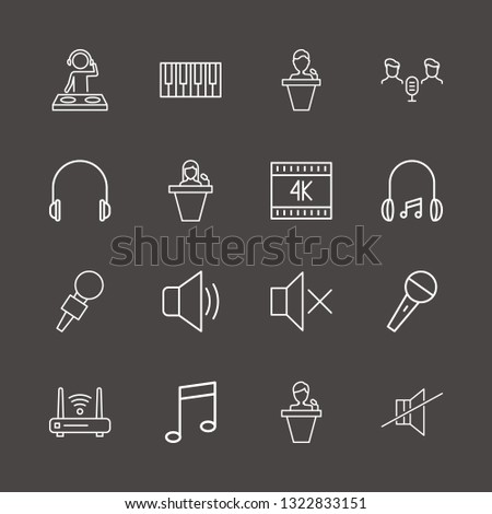 outline 16 music icon set