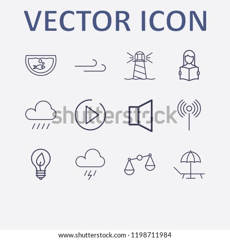 Stock Photo Outline 12 nature icon set. lighthouse, wind, play, read the book, sound and eco lamp vector illustration