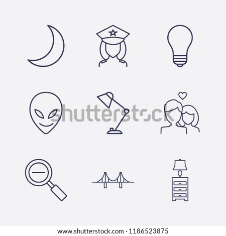 outline 9 night icon set