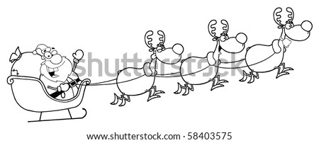 Outline Of Christmas Santa Sleigh And Reindeer - stock vector