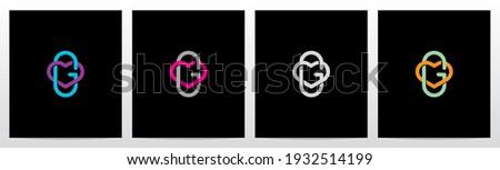 Outline Of Heart Entangled On Letter Logo Design G Stock fotó ©