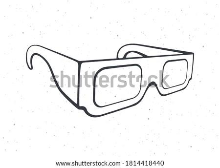 outline of paper 3d glasses