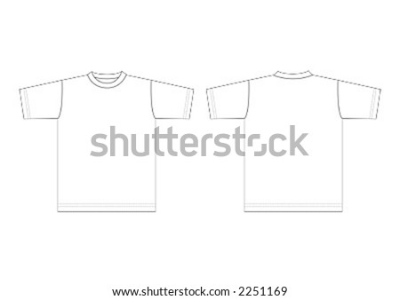 stock vector : Outline of plain, white T-shirt for use as template.