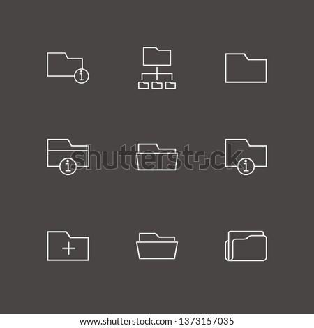 Outline 9 organize icon set. connected folder, add folder, folder and information folder vector illustration