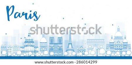 outline paris skyline with blue