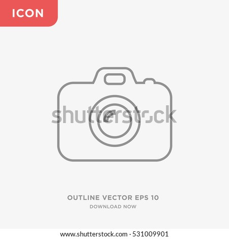 Outline photo camera icon illustration isolated vector, linear sign symbol