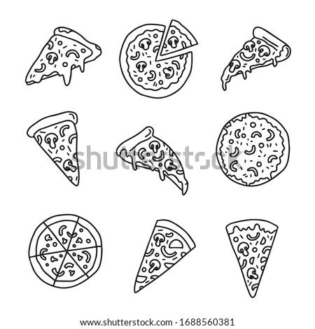 Outline pizza slices, whole pizza. Vector simple Doodle style