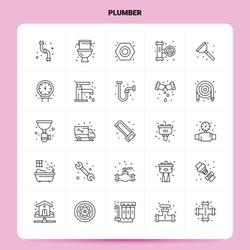 OutLine 25 Plumber Icon set. Vector Line Style Design Black Icons Set. Linear pictogram pack. Web and Mobile Business ideas design Vector Illustration.