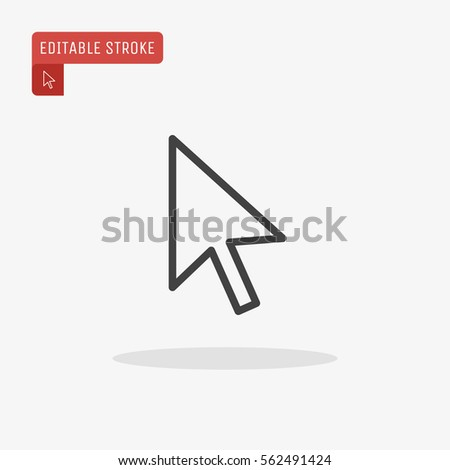Outline Pointer Icon isolated on grey background. Line Cursor symbol for web site design, logo, app, UI. Editable stroke. Vector illustration. EPS10