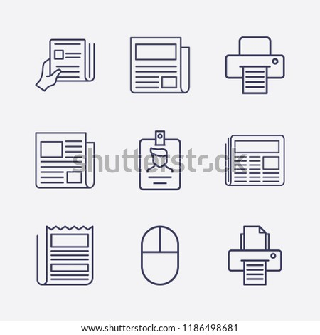 Outline 9 press icon set. click, newspaper, printer, id card and newspapers with hand vector illustration