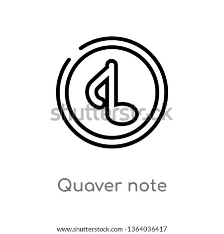 outline quaver note vector icon. isolated black simple line element illustration from music concept. editable vector stroke quaver note icon on white background