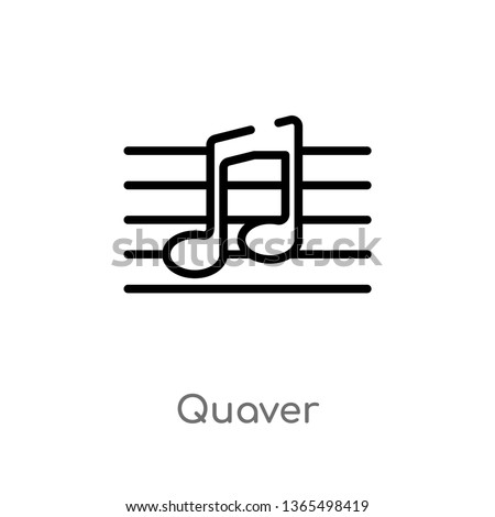 outline quaver vector icon. isolated black simple line element illustration from music and media concept. editable vector stroke quaver icon on white background