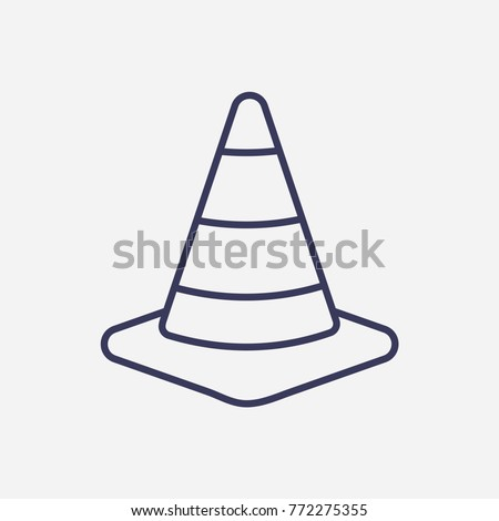 Outline road traffic cone icon illustration vector symbol