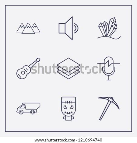 outline 9 rock icon set