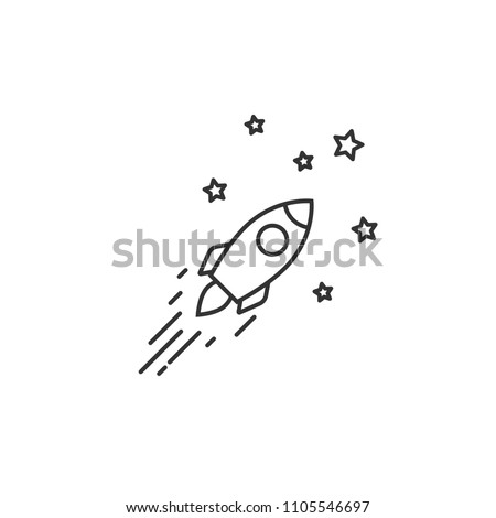 Outline rocket ship with stars. Isolated on white. Flat line icon. Vector illustration with flying rocket. Goal achieve. Project start up sign. Creative idea symbol. Black and white.