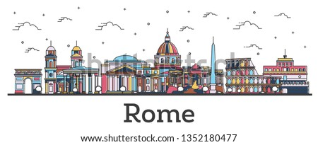 Outline Rome Italy City Skyline with Color Buildings Isolated on White. Vector Illustration. Rome Cityscape with Landmarks.