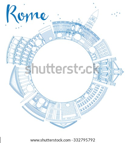 outline rome skyline with blue