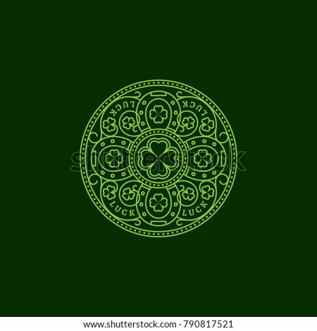 Outline round badge with four horseshoes, shamrock leaves, floral ornament. Vector illustration.