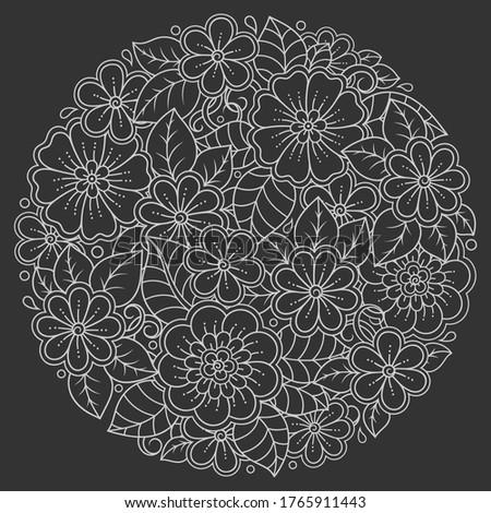 outline round flower pattern in