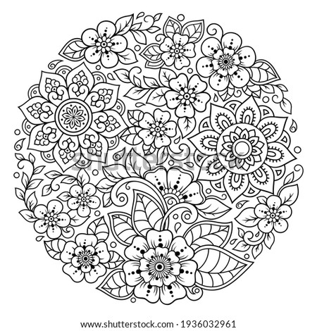 Outline round flower pattern in mehndi style for coloring book page. Antistress for adults and children. Doodle ornament in black and white. Hand draw vector illustration. Stock photo ©