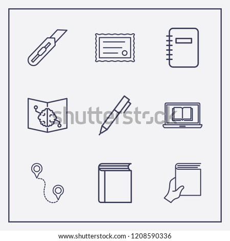 Outline 9 school icon set. online learning, stationery knife, book with brain and hand with book vector illustration #1208590336