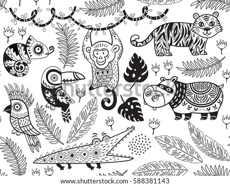 outline seamless pattern of
