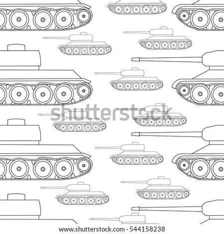 outline seamless pattern tanks