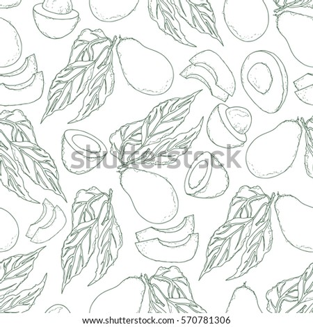 Outline seamless pattern with avocado and slice, vector illustration
