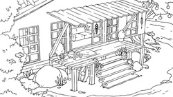Outline seashore beach bingalow with terrace and stairs. Vector hand drawn isolated tropical house. Coloring book page.