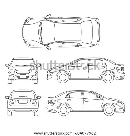 outline sedan car vector