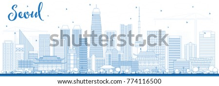 outline seoul korea skyline