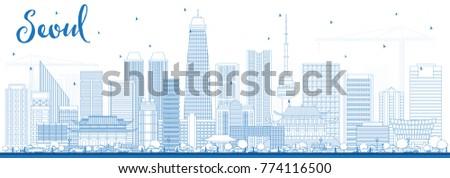 outline seoul korea skyline
