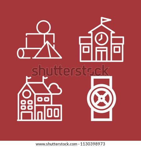 Outline set of 4 buildings icons such as blocks, school