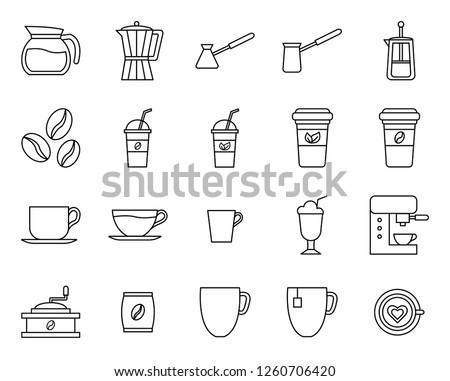outline set of cafe icon, modern concept, editable object, simple style