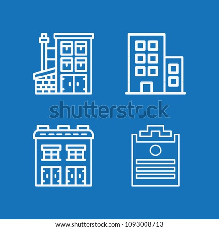 Outline set of 4 office icons such as building