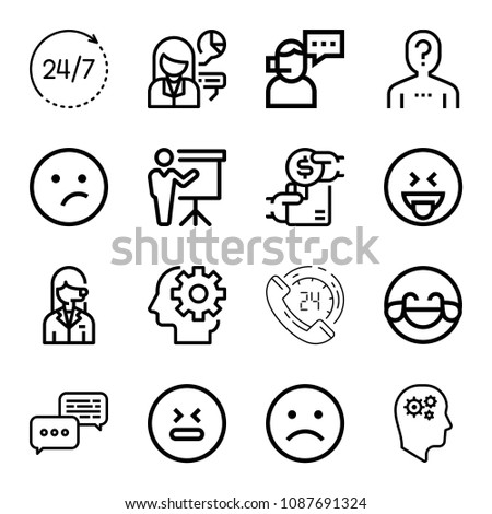 outline set of 16 people icons
