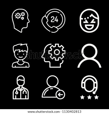 Outline set of 9 people icons such as memory, productivity, laughing, user, avatar, 24 hours, headphones