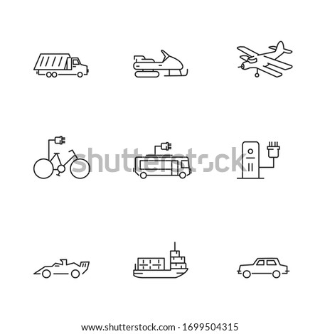 Outline set of transport vehicles, cars, boat and airplane vector icons for web design, mobile app isolated on white background. UI/UX design components for websites and mobile applications