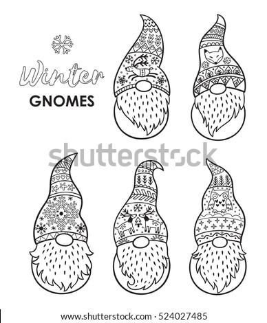 outline set of trolls gnomes