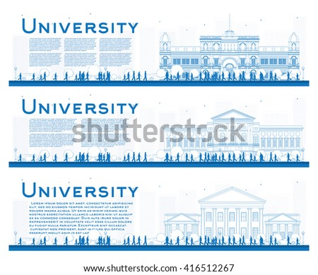 Outline set of university study banners. Vector illustration. Students go to the blue building of university. Banner with copy space.